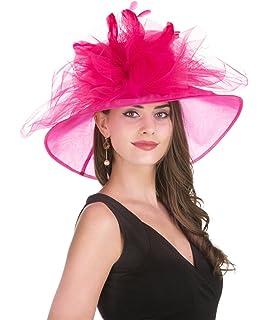 71df7b37e84 Aolvo Womens Organza Church Derby Hats Anti-UV Sinamay Fascinator Kentucky  Hats Vintage Bridal Tea Party Wedding Hat Summer Oversized ...