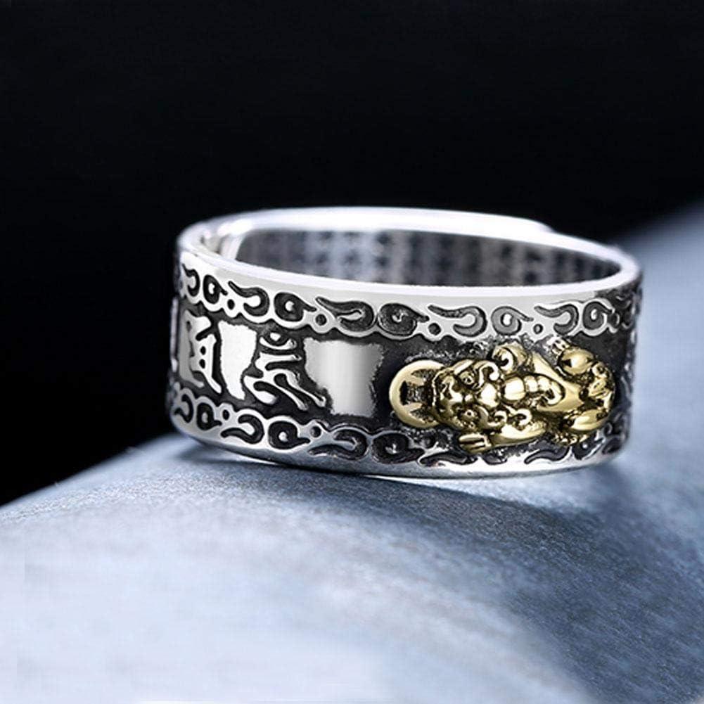ADHG Pixiu Anneau Feng Shui Bande Anneaux r/étro r/églable Mantra Protection Richesse Anneau amulette grav/é Bijoux pour Hommes Femmes