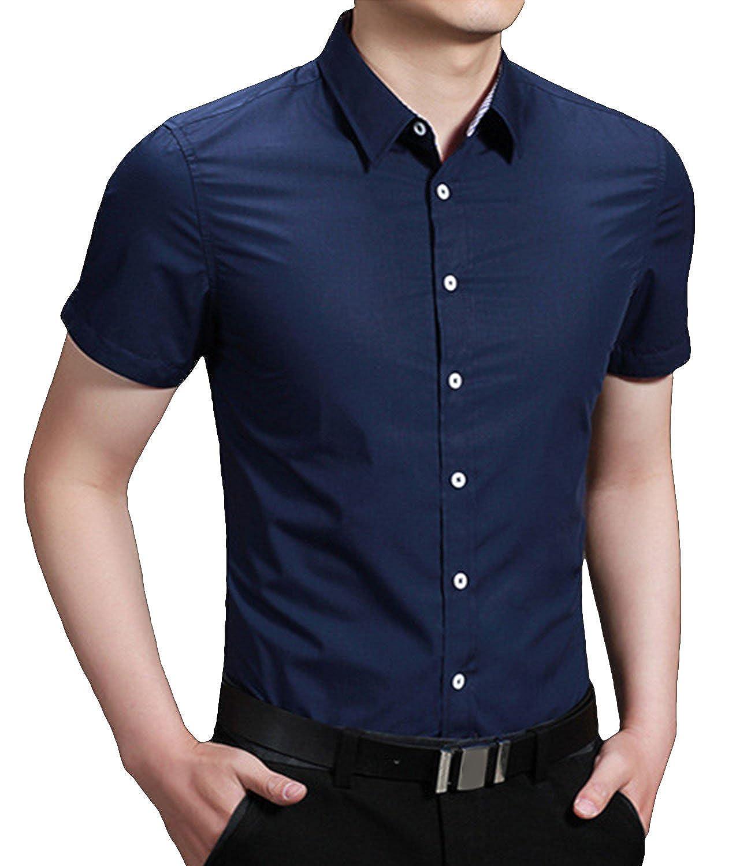 Nidicus Men Institute Classic Green Breath Short Sleeve Button up Shirt