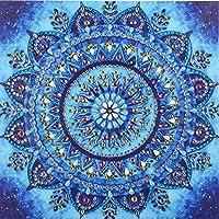 Diamond Painting DIY 5D Special Shape Rhinestones, ABEUTY Blue Mandala Flowers, Partial Drill Crystal Diamond Art Kits