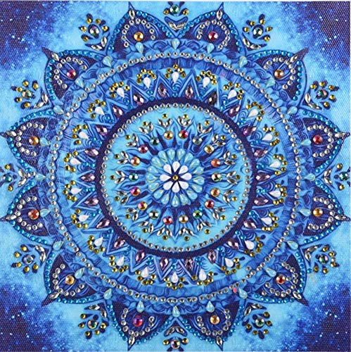 Diamond Painting DIY 5D Special Shape Rhinestones, ABEUTY Blue Mandala Flowers, Partial Drill Crystal Diamond Art Kits ()