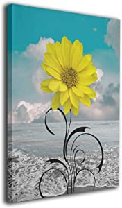 Colla Canvas Print Teal Yellow Floral Wall Art, Beach Ocean Wall Pictures for Bedroom, Bathroom Giclee Print Gallery Wrap Modern Wall Decor Framed Ready to Hang 16x20 Inches