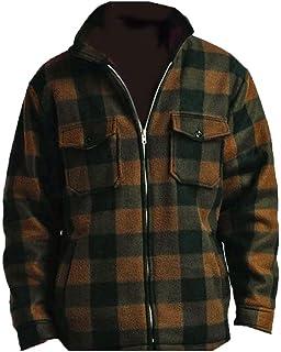 f5270cea317e2 Men's Heavy Warm Fleece Sherpa Lined Zip Up Buffalo Plaid Jacket