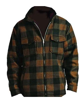 08c57785043bf9 Men's Heavy Warm Fleece Sherpa Lined Zip Up Buffalo Plaid Jacket at Amazon Men's  Clothing store: