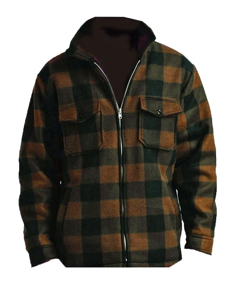 Woodland Supply Co.. Men's Heavy Warm Fleece Sherpa Lined Zip up Buffalo Plaid Jacket (XX-Large, Brown)