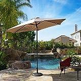 Cheap Belleze 9 Ft Outdoor Table Aluminum Patio Umbrella w/Auto Tilt and Crank, Polyester (Beige)
