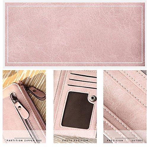 Woolala Damen Pu Leder Kompakt Geldbörse Für Bargeld, Karten, Change Halter Organizer Kleine Geldbörse Mit Reißverschluss Münzenhalter, Pink Für Immer Pink