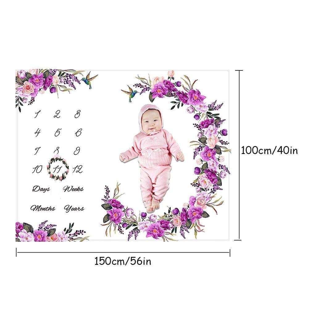 Baby Milestone Blanket Monthly Milestone Blanket Fotograf/ía Suave Fondo Mantas De Beb/é Para Ni/ñas Y Ni/ños Fotograf/ía De Reci/én Nacidos Franela Premium Baby Blanket Mensual Shower Regalos