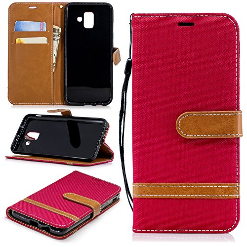 Samsung Galaxy A6 2018 Case, FindaGift Samsung Galaxy A6 2018 Leather Wallet Case Book Design with Flip Cover and Stand [Credit Card Slot] Cover Case for Samsung Galaxy A6 2018 - Red
