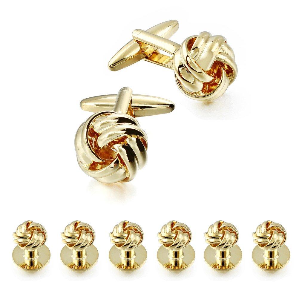 HAWSON Flower Knot Cufflinks and Tuxedo Studs Set Men Dress Shirt Studs Wedding Business Accessories (Gold Tone)