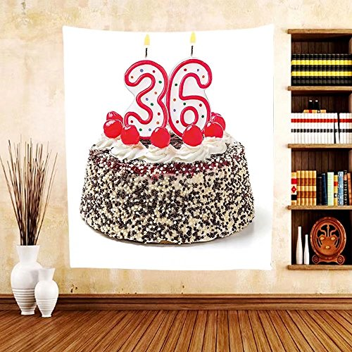 Gzhihine Custom tapestry 36th Birthday Decorations Tapestry Celebration Party with Cake Candles and Presents Print for Bedroom Living Room Dorm Red and Burgundy -