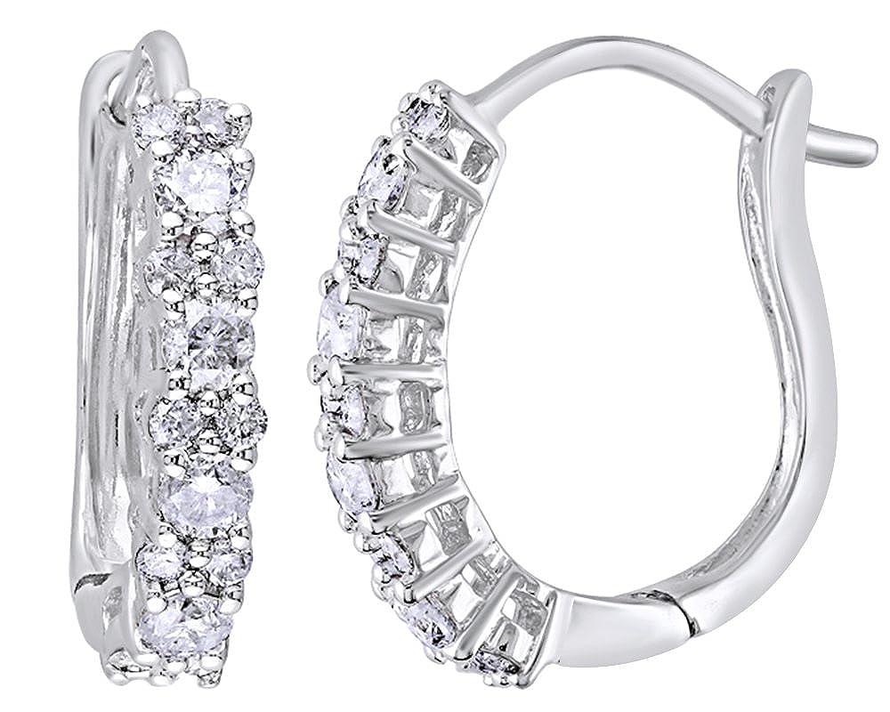 Weißszlig; natürlicher Diamant Creolen in 14 ct 585 Weißszlig; Gold massiv (0,5 cttw 14 Karat (585) WeißGold