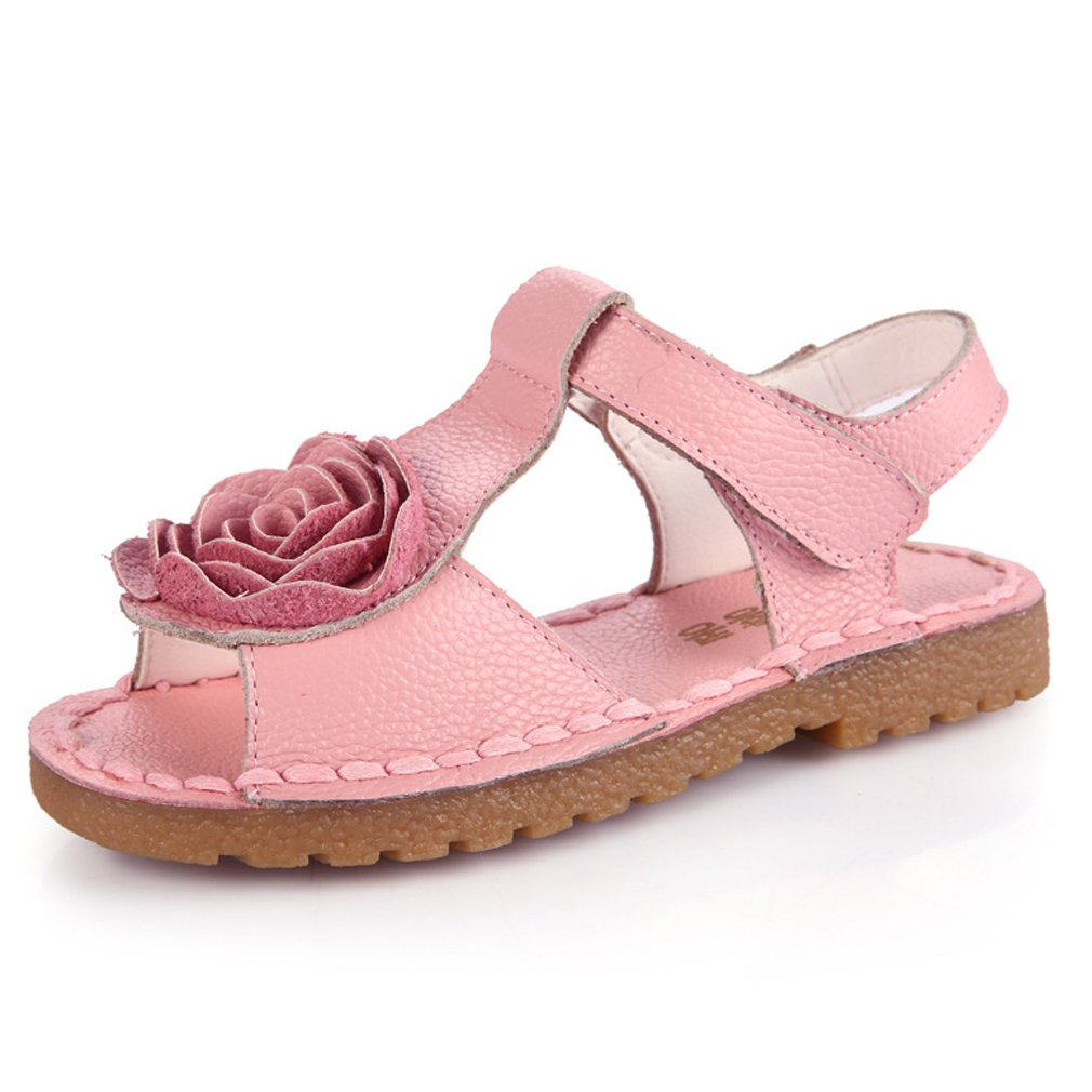 Girls Sandals Summer Closed Toe Sandals Baby Girls Leather Flowers Sandals Princess Shoes Soft Beach Walking Shoes Mary Jane Size