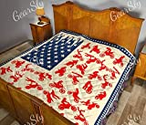 Red Motocross with American Flag Quilt Throw Size - All Season Comforter with Cotton Quilts - Best Decorative Unique Banklet for Traveling, Picnics, Beach Trips, Gifts