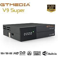 GT MEDIA Nuevo Freesat V9 Super DVB S2 TV ricevitore satellitare Satellite decoder Support 1080P Full HD PowerVu Biss chiave Newca CCCAM, con WiFi Incorporado