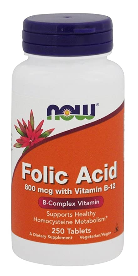 Ácido fólico con vitamina B-12, 800 mcg, 250 tabletas - Now Foods