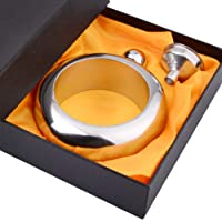 CCJK Liquor Flask for Women with Funnel - Stainless Steel Bangle Bracelet Flask Alcohol Wrist Jewelry (Sliver)