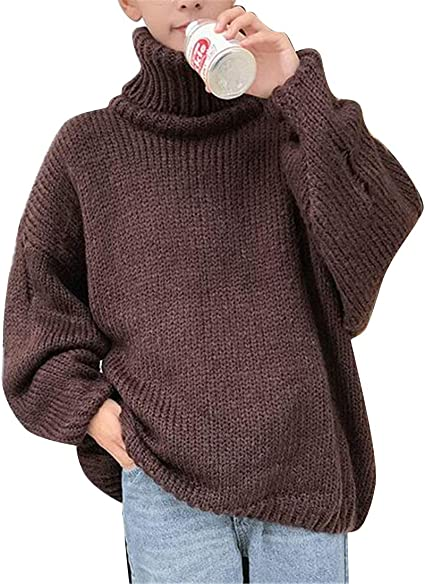 Wofupowga Mens Pullover Stretchy Turtle Neck Solid Slim Fit Knit Sweater
