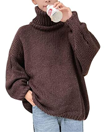 Otw Mens Oversized Knitted Ripped Distressed Turtle Neck Loose
