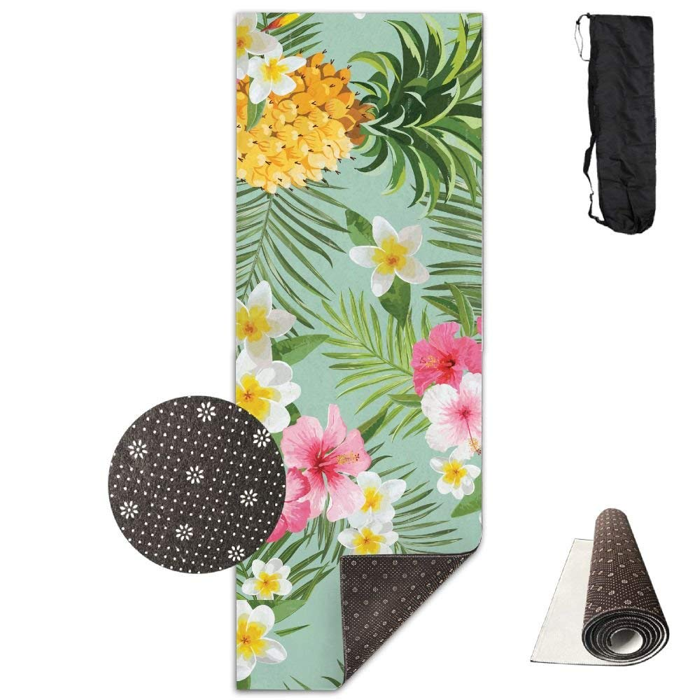 Floral and Pineapple Prints Premium Print Durable Concise Fun Printing Yoga Mat for Yoga, Workout, Fitness