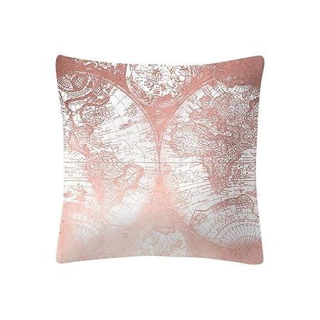 VJGOAL Moda impresión decoración del hogar Rosa Suave Funda de cojín Cuadrado cómodo Funda de Almohada 4 Piezas Conjunto(45_x_45_cm,Rosado4)