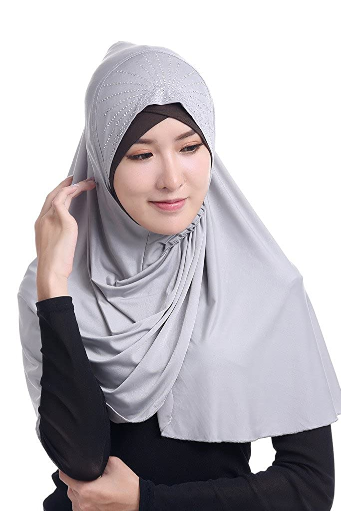 GladThink Womens Muslim Ice Silk Big size Hijab