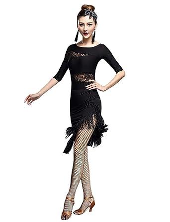 b6e47b5dd BESBOMIG Womens Sexy Top&Tassel Latin Dance Skirt - Ballroom Tango Latin  Dress at Amazon Women's Clothing store: