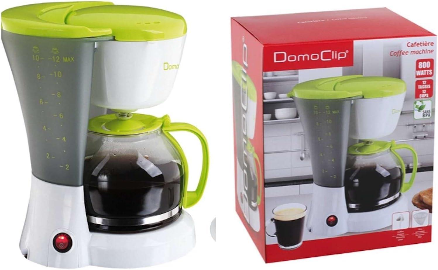 Cafetera con jarra de cristal de 1,5 litros (cafetera para aprox. Tazas, 800 W, color blanco y verde: Amazon.es: Hogar