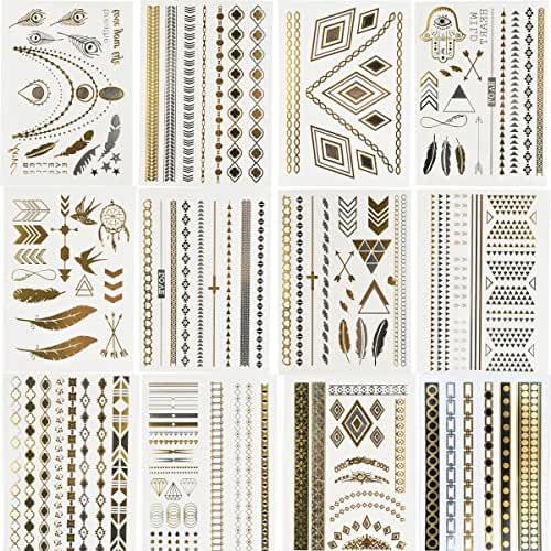 BeneU Bachelorette Metallic Temporary Tattoos Body Art Stickers Waterproof Removable Shiny Jewelry Flash Tatoos High Gloss Shimmer Designs in Gold, Silver, Black 12 Sheets