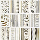 BeneU Bachelorette Metallic Temporary Tattoos Body Art Stickers Waterproof Removable Shiny Jewelry Flash Tatoos High Gloss Shimmer Designs in Gold, Silver, Black 12 Sheets offers