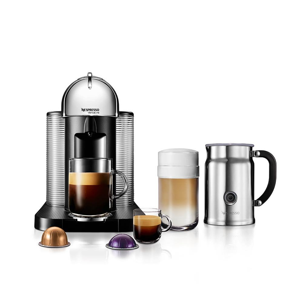 Nespresso A+GCA1-US-CH-NE VertuoLine Coffee and Espresso Maker with Aeroccino Plus Milk Frother, Chrome (Discontinued Model)