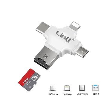 Lector de Tarjetas Micro SD 4 en 1 Lightning USB Type-C ...