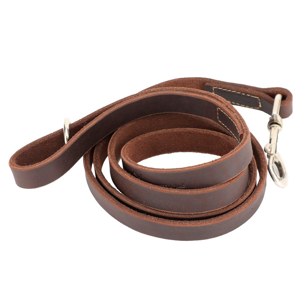 3 4''x6ft Leather Dog Leash 6 Foot, Dog Training Leash Heavy Duty for Large Medium Small Dogs (3 4 , Brown) (3 4''x6ft)