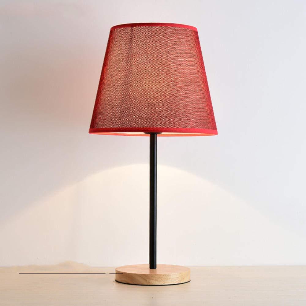 Moderne minimalistische Nachttischlampe Schlafzimmer warme Dekoration Tischlampe Massivholz rot Hochzeit kreative Tischlampe Holzkunst - weinrot