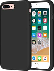 "Anuck iPhone 8 Plus Case, iPhone 7 Plus Case, Soft Silicone Gel Rubber Bumper Case Microfiber Lining Hard Shell Shockproof Full-Body Protective Case Cover for iPhone 7 Plus /8 Plus 5.5"" - T Black"