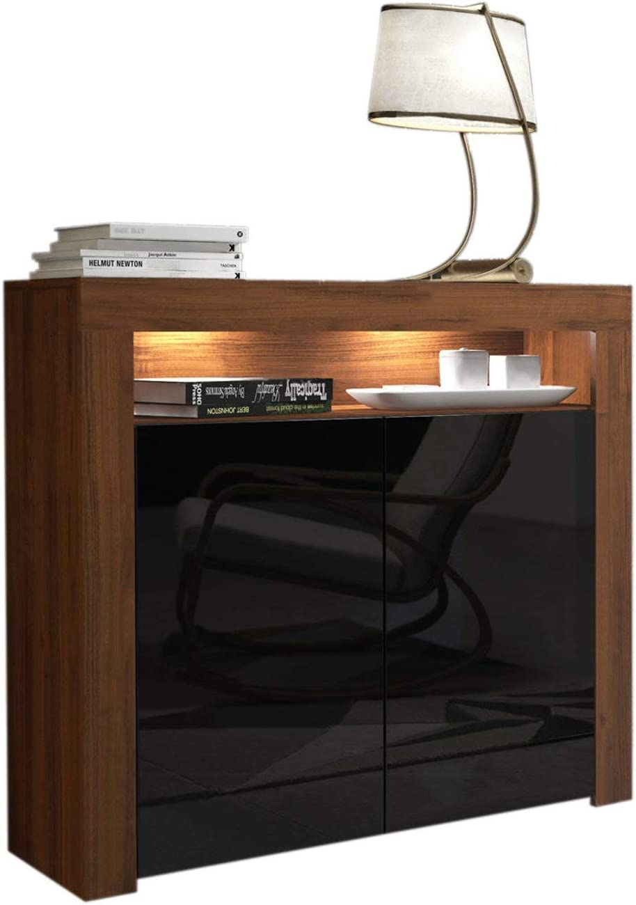 Domadeco Milano 2 Sideboard Contemporary Style Sideboard Cabinet and Buffet/Modern sideboards Color Walnut and Black