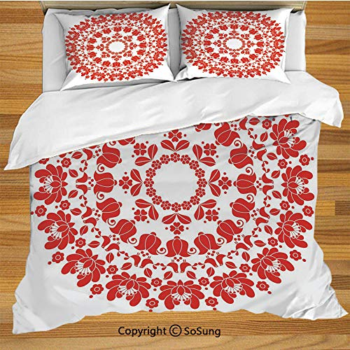 (Red Mandala Queen Size Bedding Duvet Cover Set,Hungarian Round Folk Art Pattern Tulips Traditional Kalocsai Old Fashioned Decorative Decorative 3 Piece Bedding Set with 2 Pillow Shams,Vermilion White)