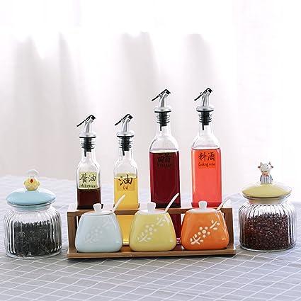 Tarro de cerámica de la especia fijado,Salero Botella de chile con tapa Caja sazonante