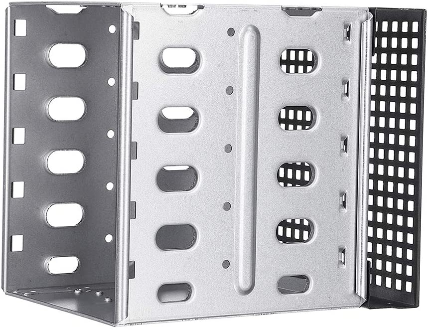 Dnasrivew 304 Stainless Steel 5 Slots 3.5inch SATA SAS HDD Cage Rack Hard Driver Tray Caddy with Fan Space with Fan Slot 1
