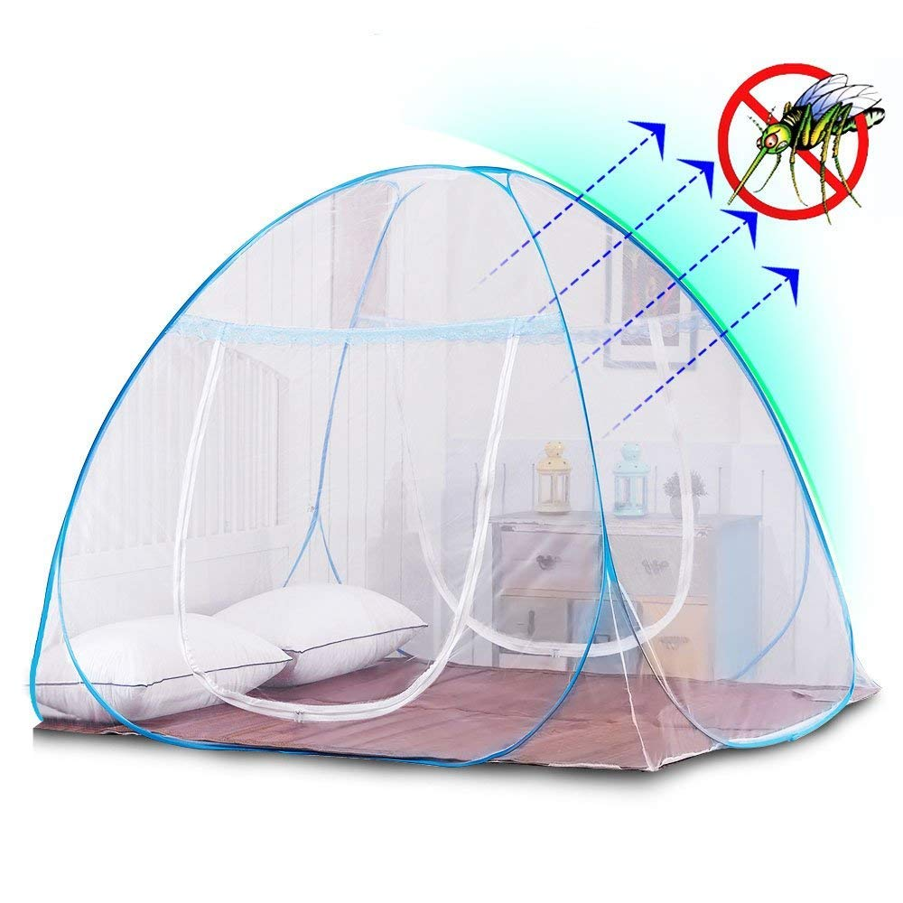 Luukan Portable Pop Up Mosquito Net for Bed Travel Fording with Bottom for Adult Bed, Canopy Trip Insect Fly Screen,Bedroom Mosquito Netting (White, 200cm(L) 200cm(W) 160cm(H))