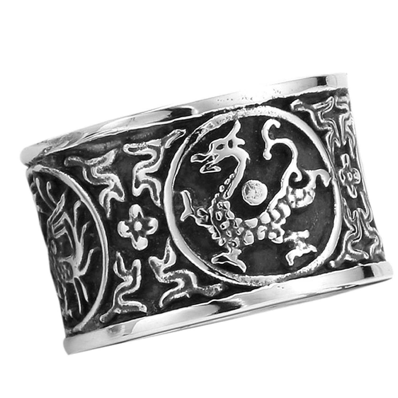 Moluss® Men's 316L Stainless Steel Dragon, White Tiger, Suzaku, Basalt Ring