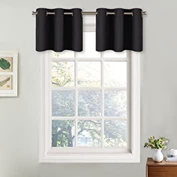 Nicetown Small Window Valances Curtains Thermal Insulated Home Decor Blackout Grommet Tier Curtains Drapes 29w By 18l 12 Inches Header Black 2