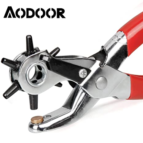 Aodoor Agujeros de la correa de cuero cinta perforadora alicate, Sacador correa de lona de cuero giratoria de perforación agujero alicates herramienta ...
