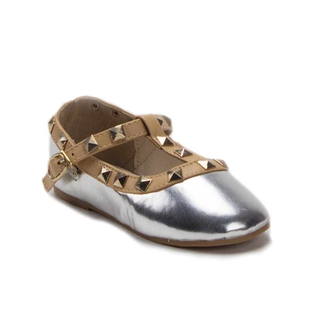 e299daad2ef Ositos QQ Little Girls' Kids Dolly36 Designer T-Strap Studded Mary Jane  Flats Shoes