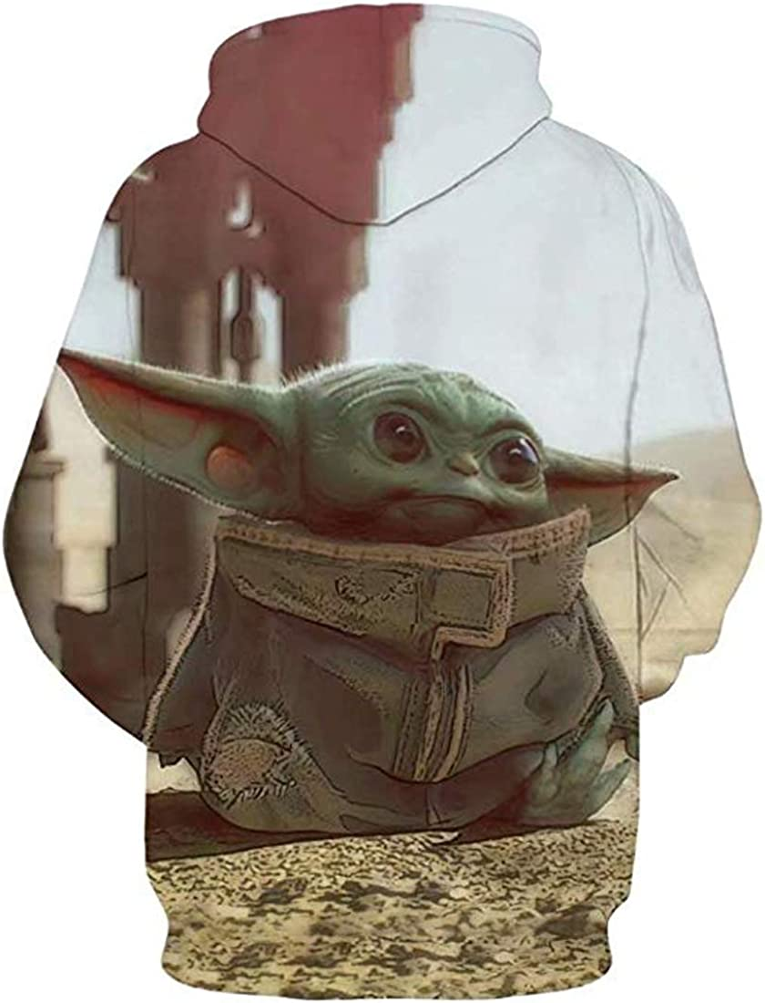 Baby Yoda Hoodie for Men Long Sleeve Sweater Pullover Outdoor Avatar Sweashirt Christmas Cute Clothing Costume Cosplay