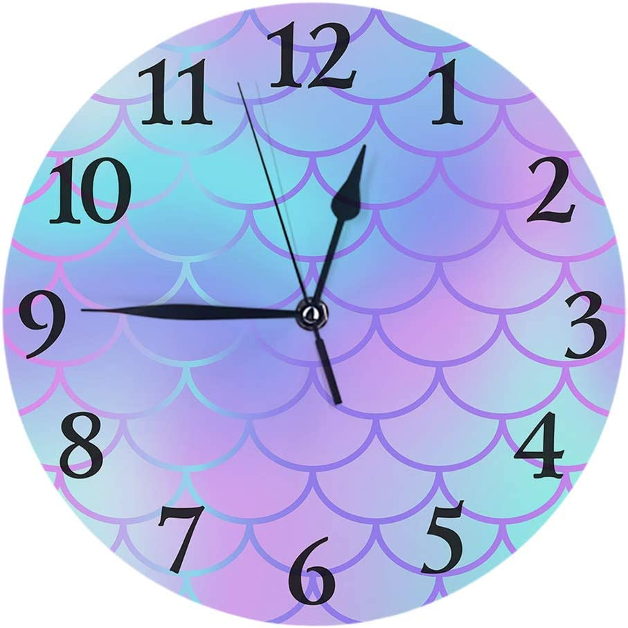 Britimes Round Wall Clock Silent Non Ticking Clock 9.5 Inch for Living Room Bathroom Kitchen School Decor Colorful Mermaid Scale
