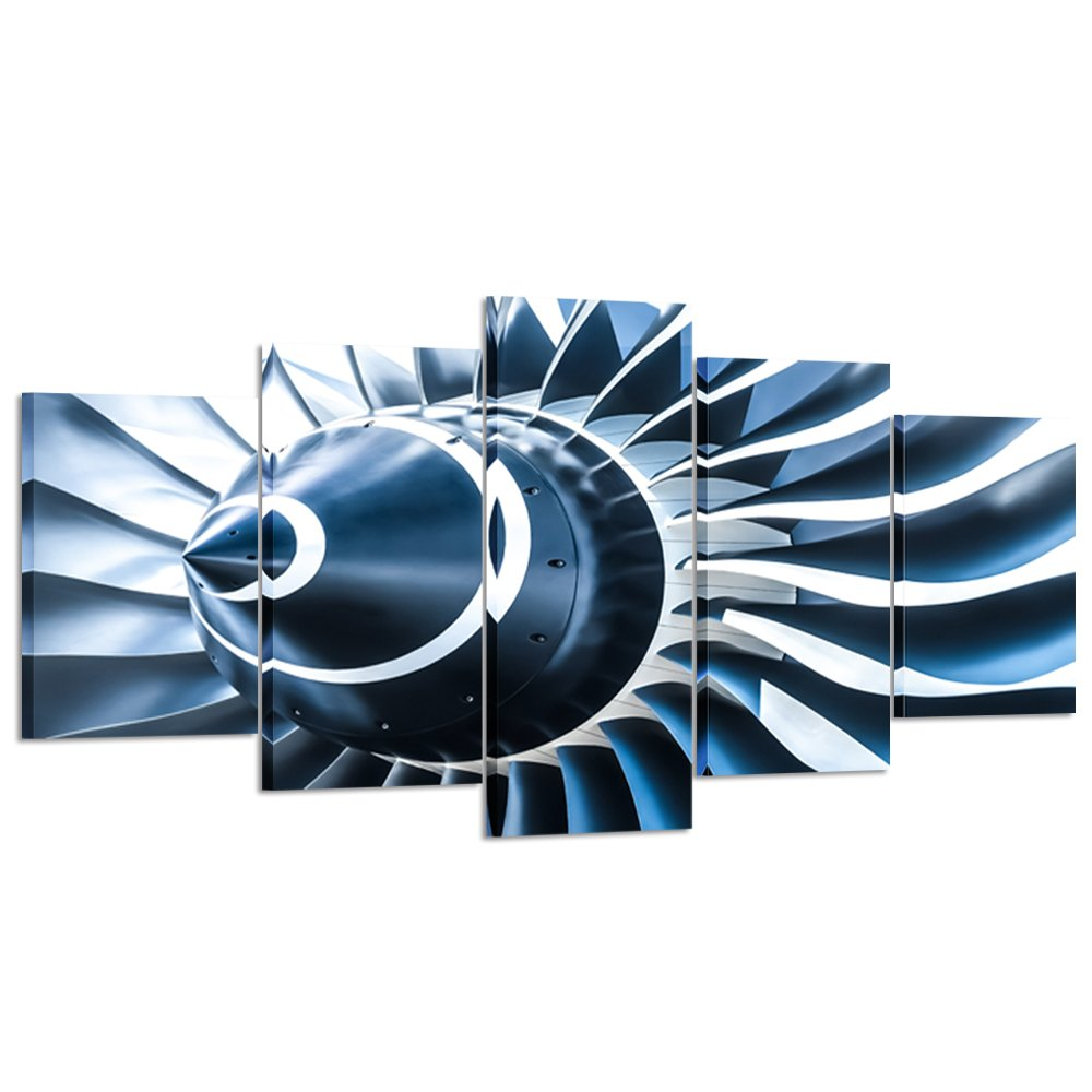 Kreative Arts - Canvas Prints Jet Engine Art Wall Decor 5 Panel Large Turbine Plane Propeller Pictures Print on Canvas Framed Ready to Hang for Office Decor (X-Large 79x40inch)