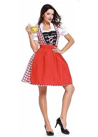 b5c0f6b2ba Women s German Dirndl Dress Traditional Bavarian Oktoberfest Costumes for  Halloween Carnival ...