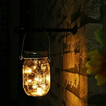 Farol con guirnalda de luces LED solares de colores cambiantes en tarro de cristal para colgar