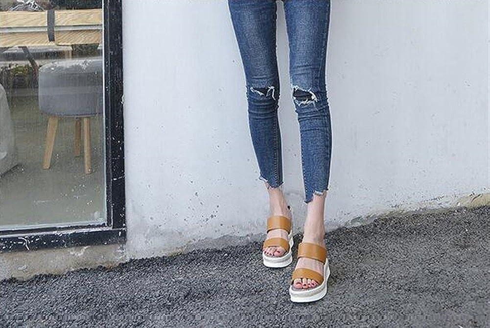 Damenschuhe LederSandale Abgerundete Zehe Keilabsatz Sandalen Slipper Mode Outdoor Büro Slipper für Büro Outdoor & Karriere Kleid B 03492e